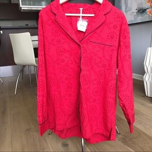 Intimately Free People NWT red eyelet PJ top - M